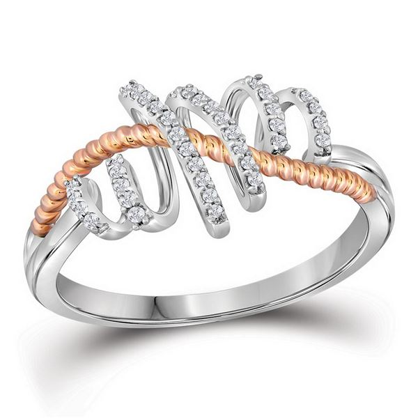 Round Diamond Rope Pigtail Spiral Band Ring 1/12 Cttw 10KT Two-tone Gold