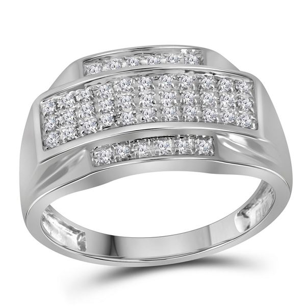 Round Pave-set Diamond Rectangle Cluster Ring 1/3 Cttw 10KT White Gold