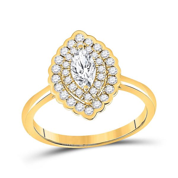 Halo Bridal Wedding Engagement Ring 3/4 Cttw 14KT Yellow Gold