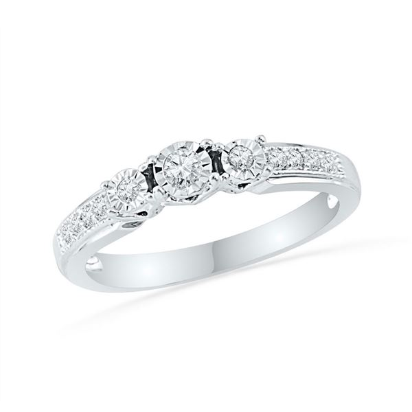Diamond 3-stone Bridal Wedding Engagement Ring 1/5 Cttw 10KT White Gold