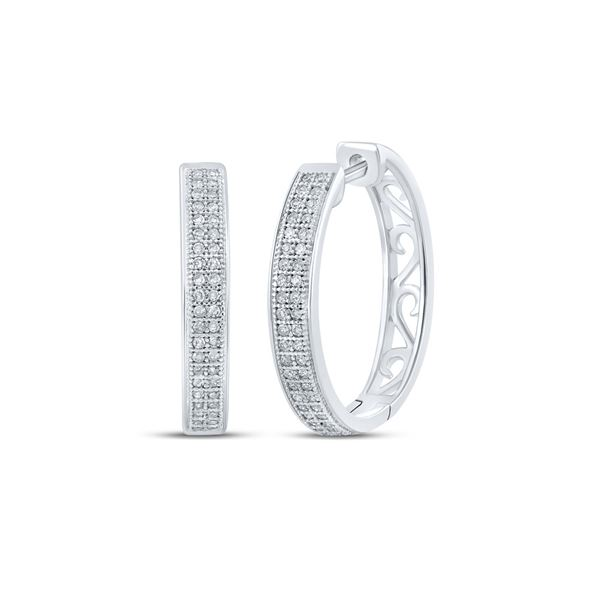 Round Diamond Double Row Pave Hoop Earrings 1/4 Cttw 10KT White Gold