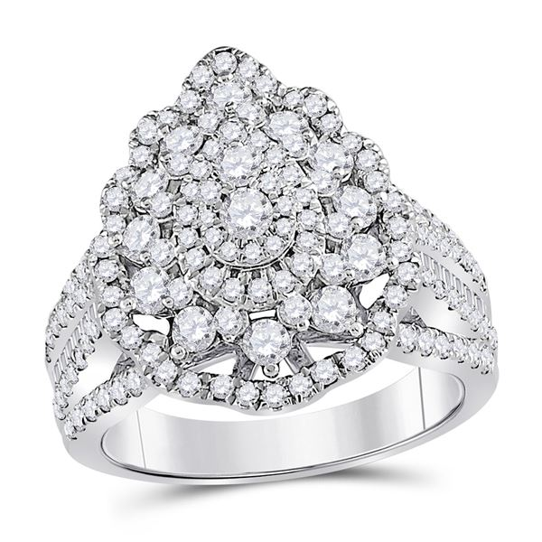 Diamond Cluster Pear Bridal Wedding Engagement Ring 1-3/4 Cttw 14KT White Gold