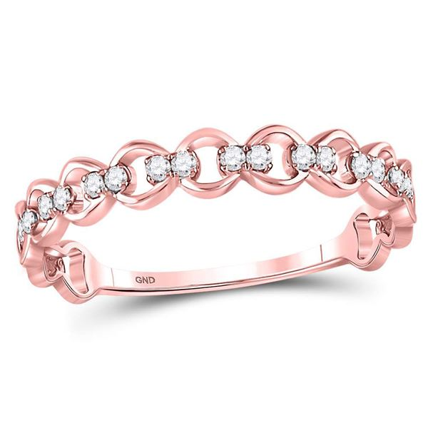 Round Diamond Link Stackable Band Ring 1/8 Cttw 10KT Rose Gold