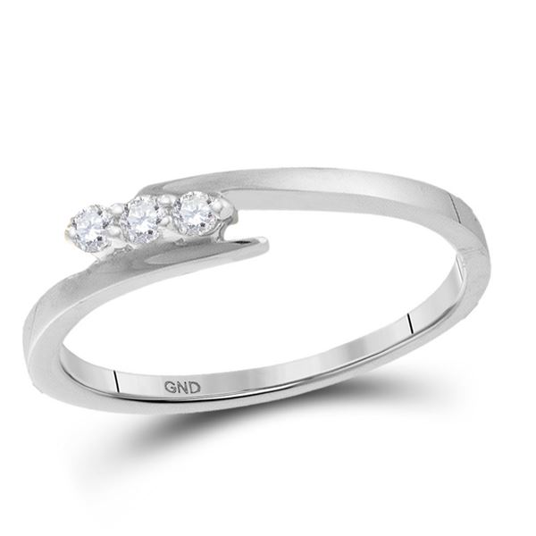 Round Diamond 3-stone Promise Bridal Engagement Ring 1/10 Cttw 10KT White Gold