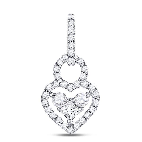 Round Diamond Fashion Heart Pendant 5/8 Cttw 10KT White Gold