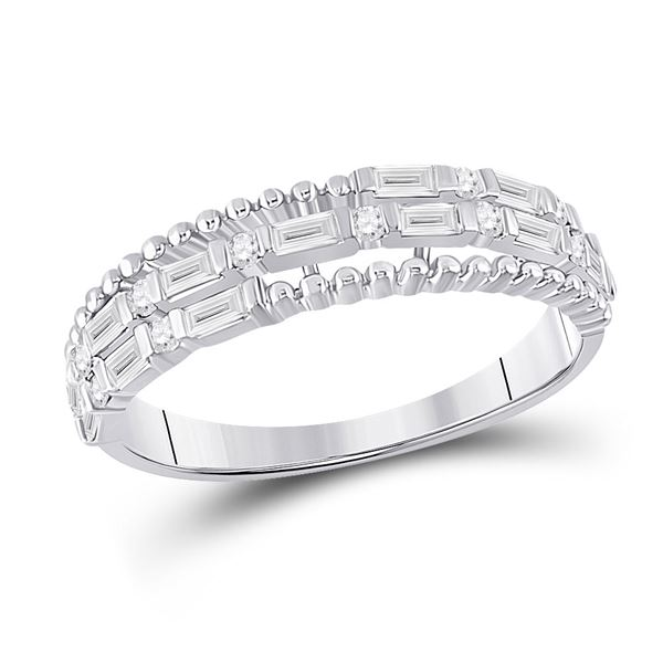 Baguette Diamond Fashion Band Ring 3/8 Cttw 14KT White Gold