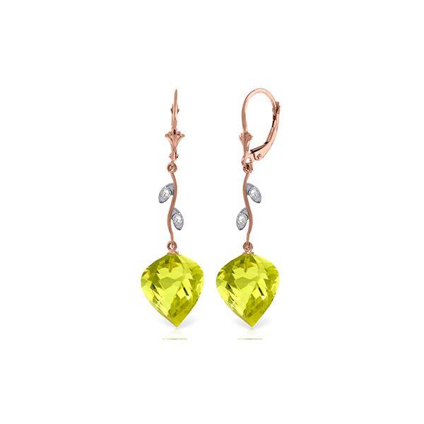 Genuine 21.52 ctw Lemon Quartz & Diamond Earrings 14KT Rose Gold - REF-57Y6F