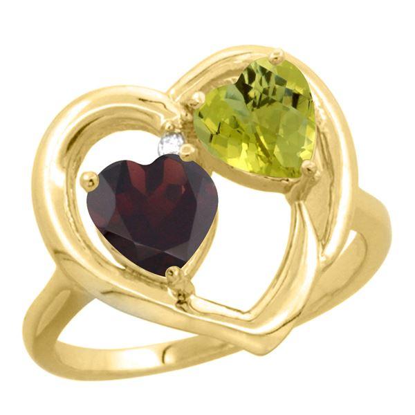 2.61 CTW Diamond, Garnet & Lemon Quartz Ring 10K Yellow Gold - REF-23R5H