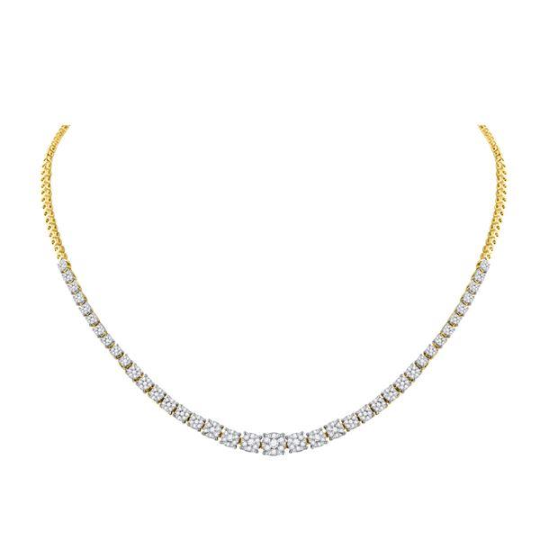 Round Diamond Tennis Fashion Cluster Necklace 2-1/3 Cttw 14KT Yellow Gold