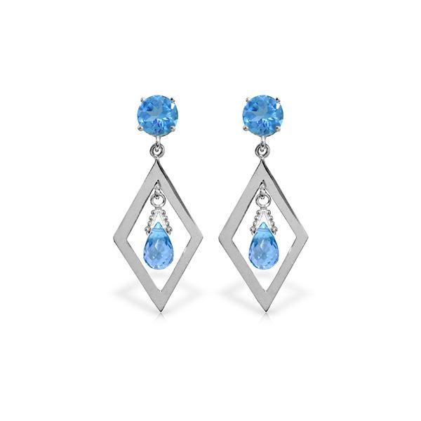 Genuine 2.4 ctw Blue Topaz Earrings 14KT White Gold - REF-39N3R