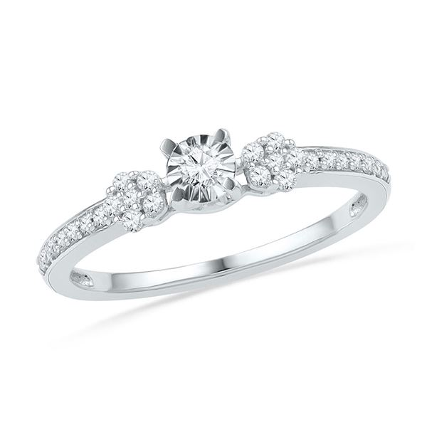 Round Diamond Solitaire Promise Ring 1/4 Cttw 10KT White Gold
