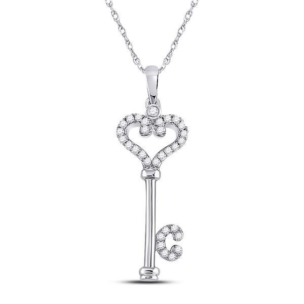 Round Diamond Key Pendant 1/6 Cttw 10KT White Gold