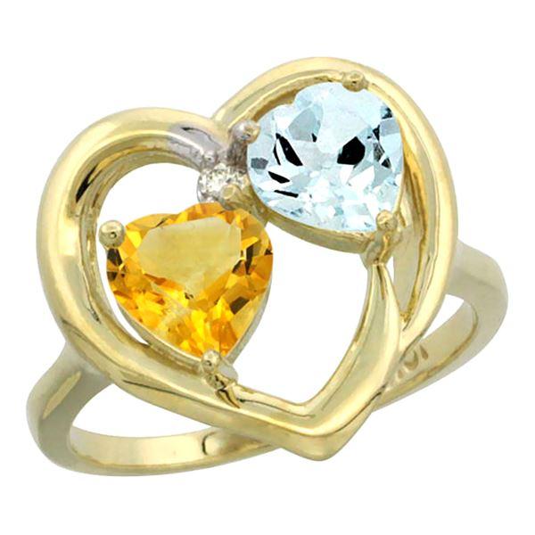 2.61 CTW Diamond, Citrine & Aquamarine Ring 10K Yellow Gold - REF-27N9Y