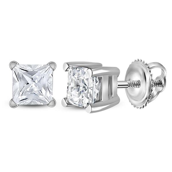 Princess Diamond Solitaire Earrings 3/4 Cttw 14KT White Gold