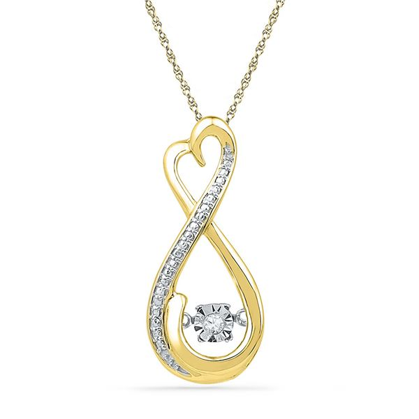 Round Diamond Infinity Moving Twinkle Pendant .03 Cttw 10KT Yellow Gold