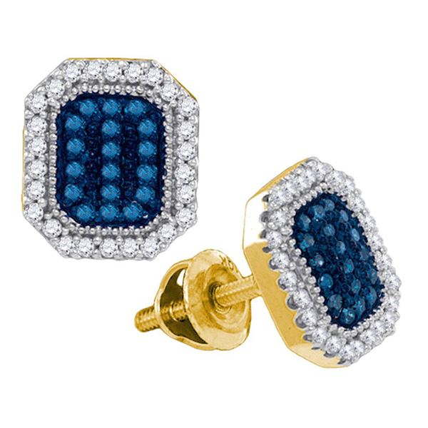 Round Blue Color Enhanced Diamond Cluster Earrings 1/4 Cttw 10KT Yellow Gold