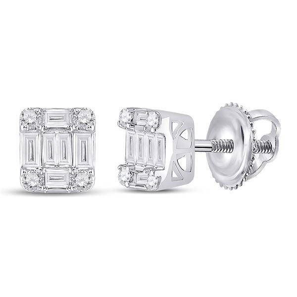 Baguette Diamond Fashion Cluster Earrings 3/8 Cttw 14KT White Gold