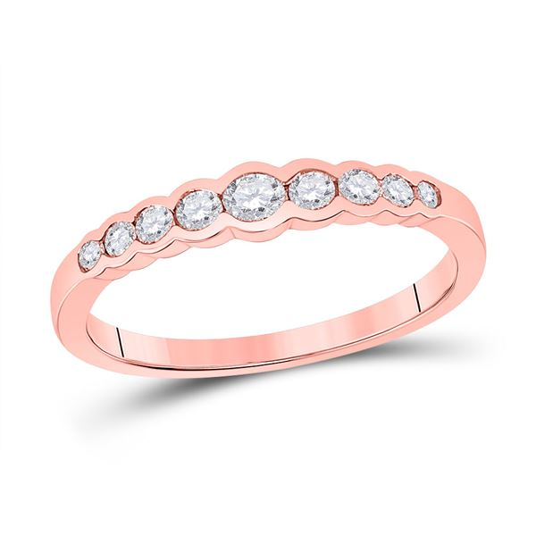 Round Diamond Stackable Band Ring 1/3 Cttw 10KT Rose Gold