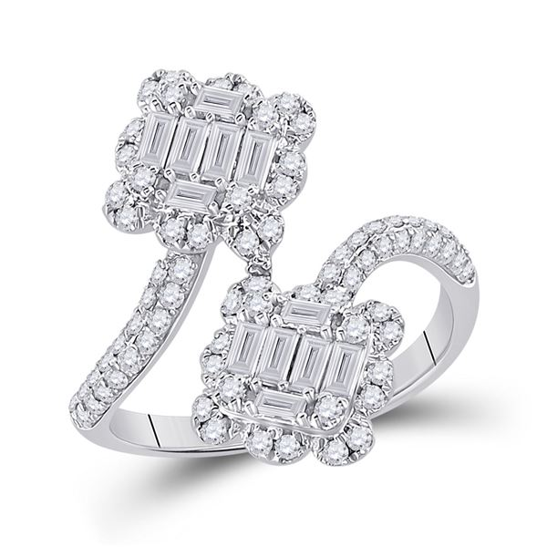 Baguette Diamond Bypass Fashion Ring 1 Cttw 14KT White Gold