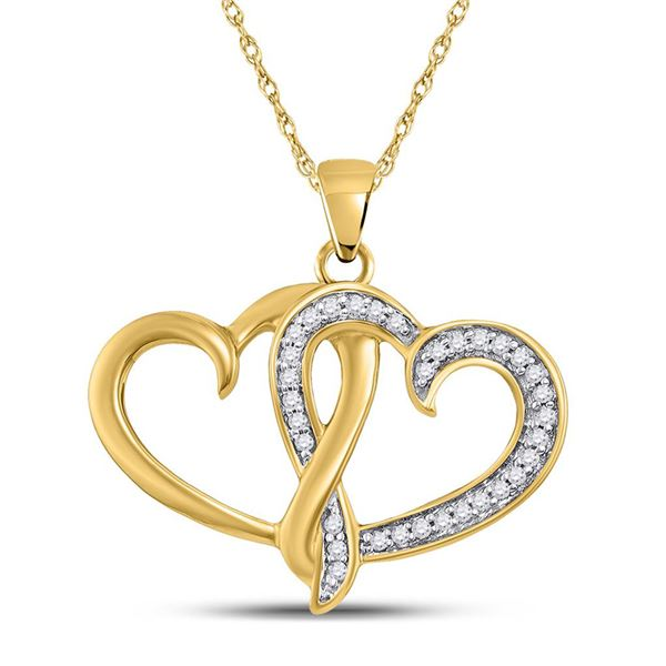 Round Diamond Double Joined Heart Pendant 1/10 Cttw 10KT Yellow Gold