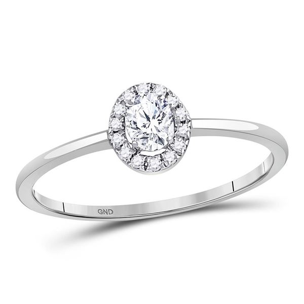 Halo Bridal Wedding Engagement Ring 1/3 Cttw 10KT White Gold