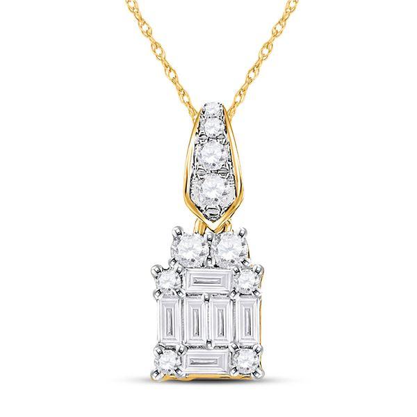 Baguette Diamond Square Cluster Pendant 1/3 Cttw 14KT Yellow Gold