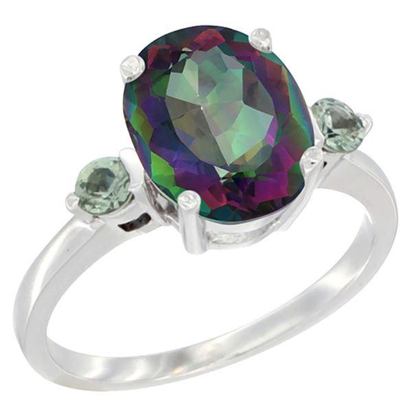 2.64 CTW Mystic Topaz & Green Sapphire Ring 10K White Gold - REF-24H5M