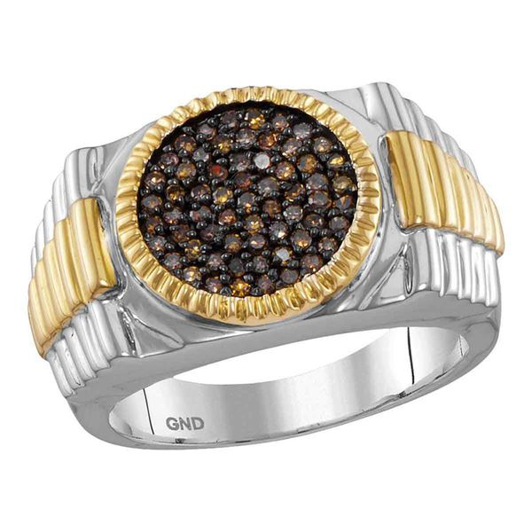Round Brown Diamond Ribbed Circle Cluster Ring 1/2 Cttw 10KT Two-tone Gold