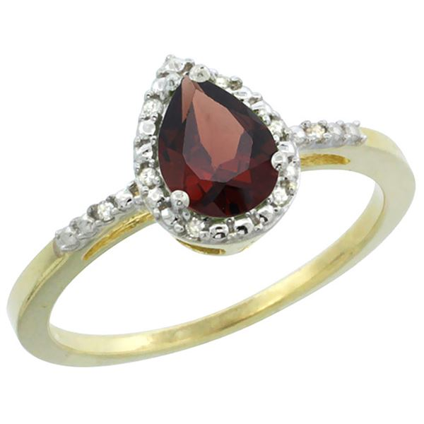 1.55 CTW Garnet & Diamond Ring 10K Yellow Gold - REF-20H7M
