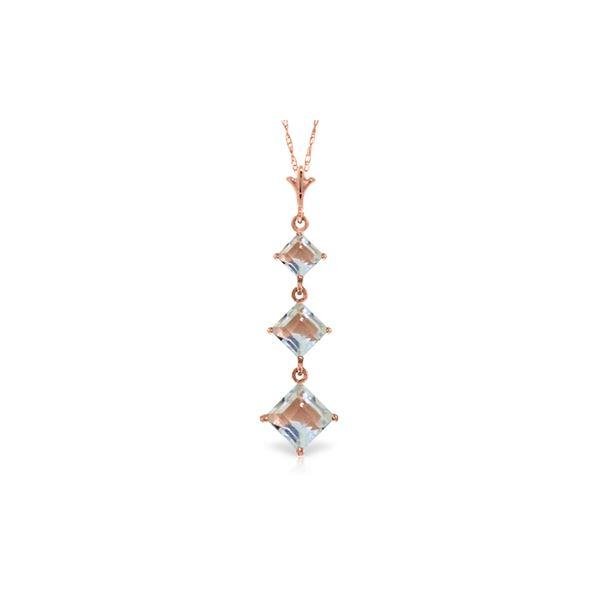 Genuine 2.4 ctw Aquamarine Necklace 14KT Rose Gold - REF-36M3T