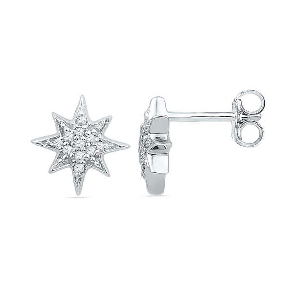 Round Diamond Starburst Cluster Earrings 1/10 Cttw 10KT White Gold