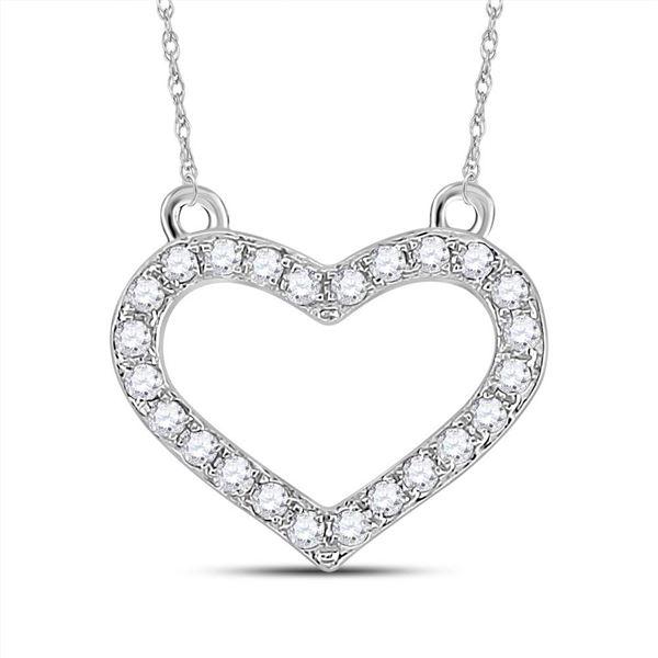 Round Diamond Heart Necklace 1/6 Cttw 14KT White Gold