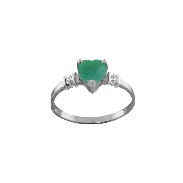 Genuine 1.03 ctw Emerald & Diamond Ring 14KT White Gold - REF-37N6R