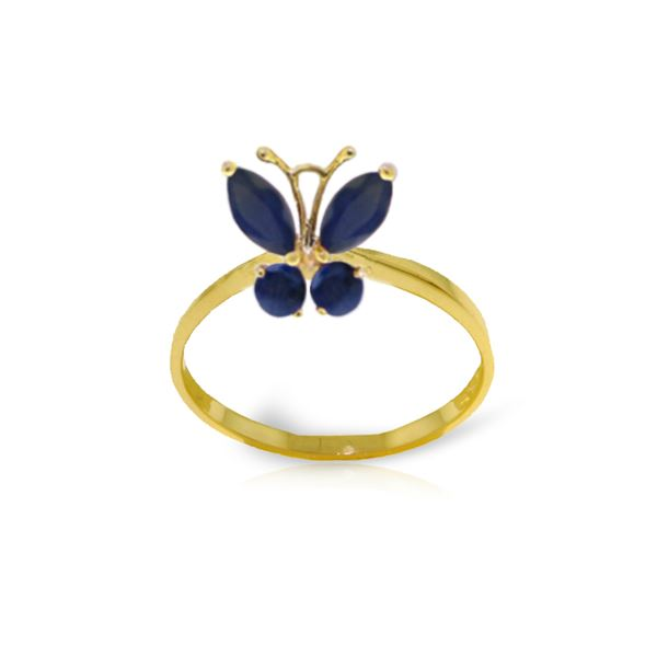 Genuine 0.60 ctw Sapphire Ring 14KT Yellow Gold - REF-34T5A