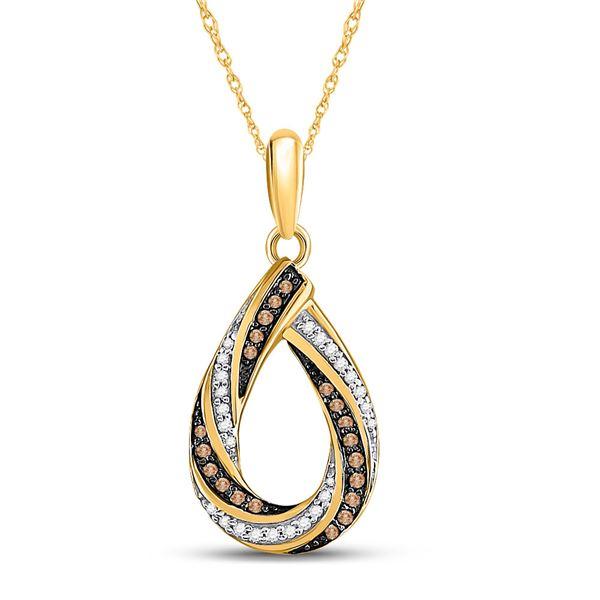 Round Brown Diamond Teardrop Stripe Pendant 1/4 Cttw 10KT Yellow Gold