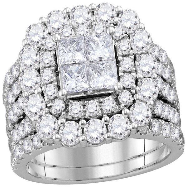 Bridal Wedding Ring Band Set 4-5/8 Cttw 14KT White Gold