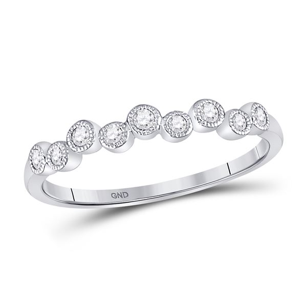 Round Diamond Stackable Band Ring 1/8 Cttw 10KT White Gold