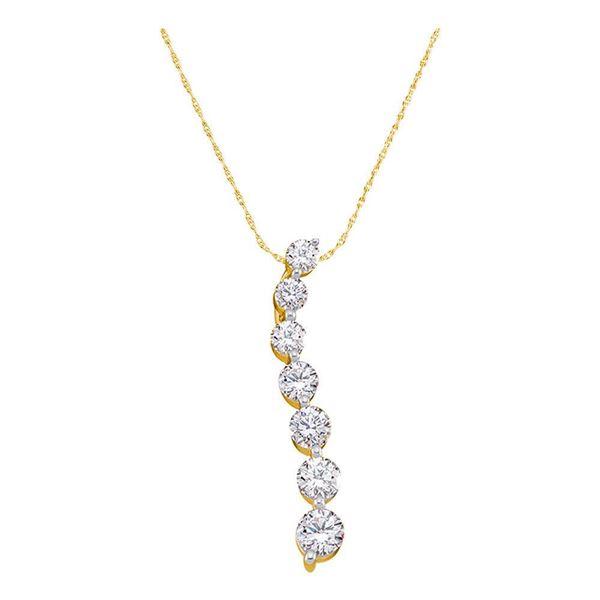 Round Diamond Journey Pendant 1/2 Cttw 14KT Yellow Gold
