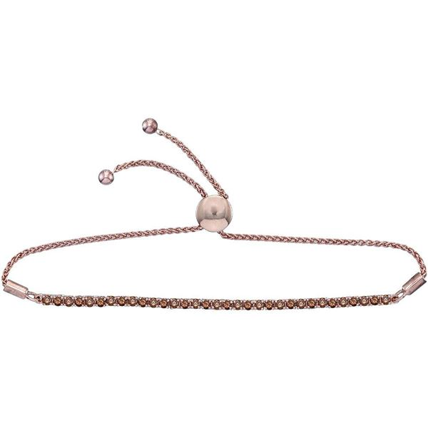 Round Natural Brown Diamond Bolo Bracelet 2 Cttw 10KT Rose Gold