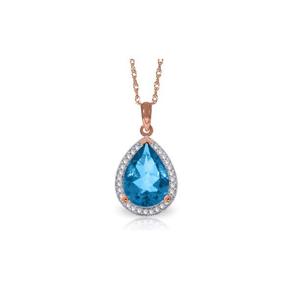 Genuine 4.66 ctw Blue Topaz & Diamond Necklace 14KT Rose Gold - REF-70K6V