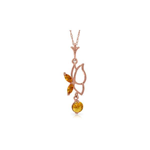 Genuine 0.40 ctw Citrine Necklace 14KT Rose Gold - REF-22F2Z