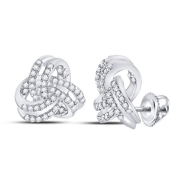 Round Diamond Triquetra Trinity Fashion Earrings 1/3 Cttw 10KT White Gold