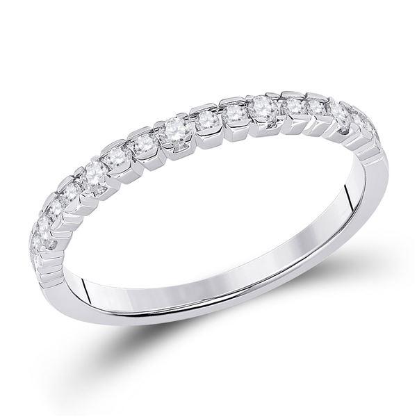 Round Diamond Wedding Single Row Band 1/4 Cttw 14KT White Gold