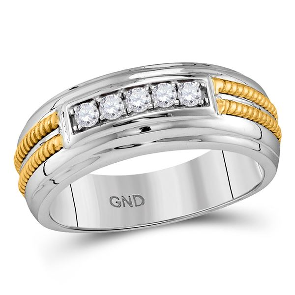 Round Pave-set Diamond Double Rope Wedding Band 1/4 Cttw 10KT Two-tone Gold