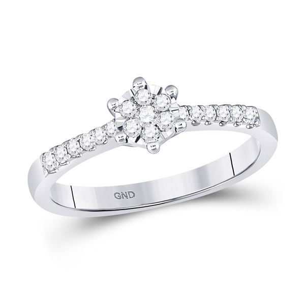 Round Diamond Flower Cluster Stackable Band Ring 1/5 Cttw 10KT White Gold