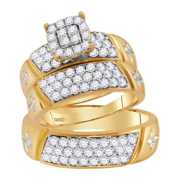 Diamond Cross Matching Wedding Set 1-5/8 Cttw 14KT Yellow Gold