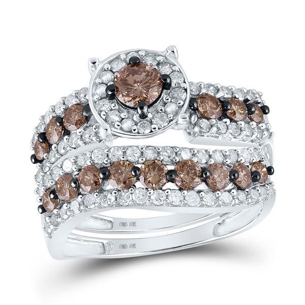 Round Brown Diamond Bridal Wedding Ring Band Set 1-3/4 Cttw 10KT White Gold