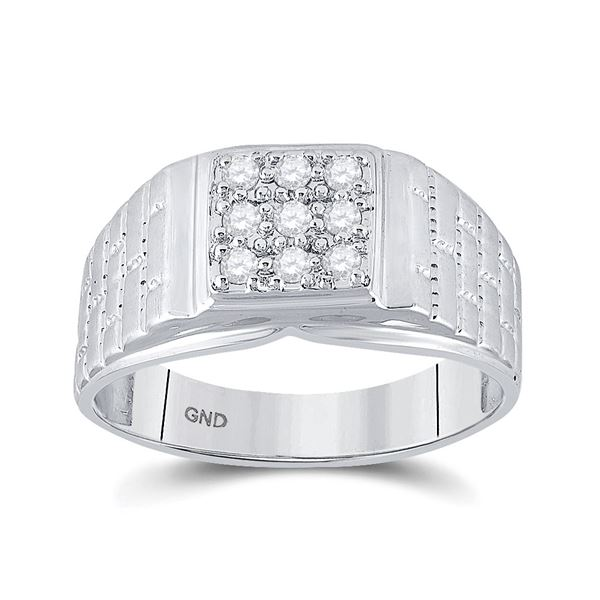 Round Diamond Square Cluster Brick Ring 1/4 Cttw 10KT White Gold
