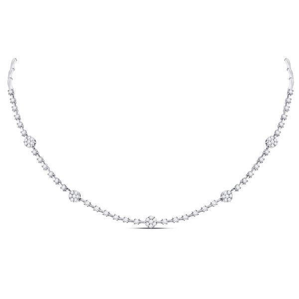 Round Diamond Cluster Luxury Necklace 1-7/8 Cttw 14KT White Gold