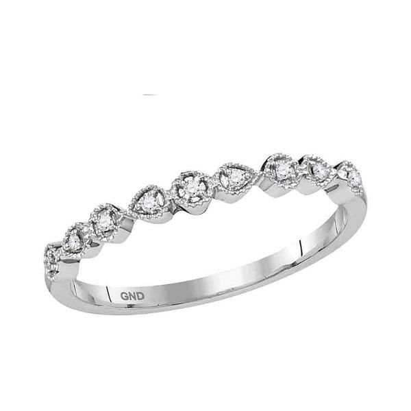 Round Diamond Stackable Band Ring 1/20 Cttw 10KT White Gold